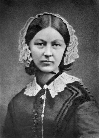 Florence Nightingale by Henry Hering, copied by Elliott & Fry, half-plate glass copy negative, 1950s (late 1856-1857) NPG x82368, © National Portrait Gallery, London