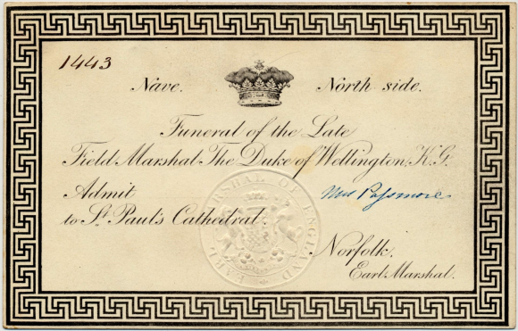 Ticket to Wellington's funeral