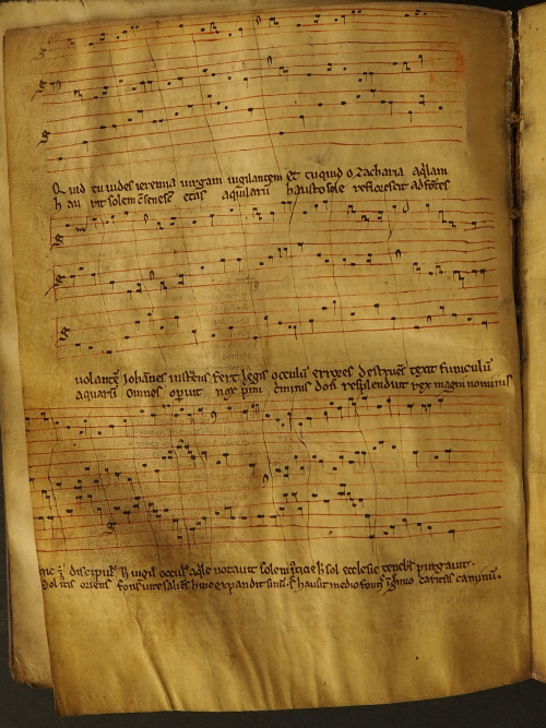 A page of Latin chant with musical notation