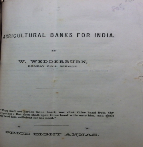 Agricultural Banks for India by W Wedderburn (Bombay, 1880?)