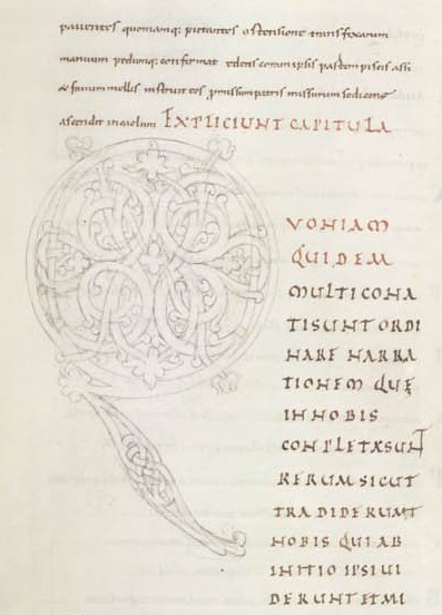 Pencil sketch for a painted initial in an 11th-century Gospel Book from Flanders. Credit: British Library