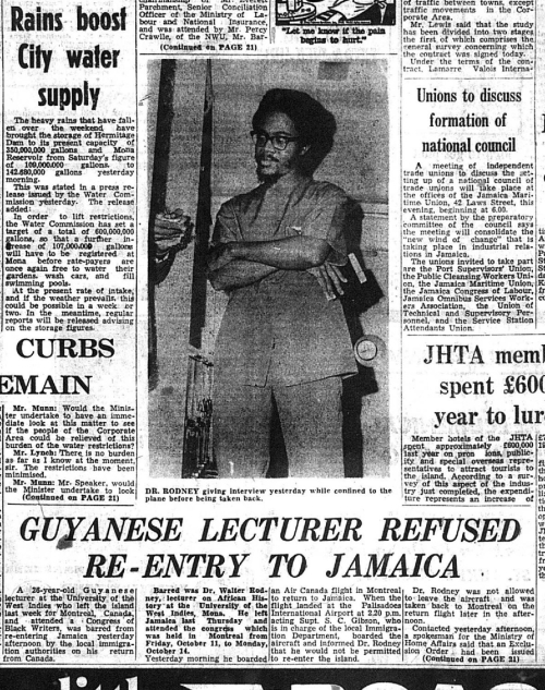 Photograph of front cover of Daily Gleaner, showing photograph of Walter Rodney