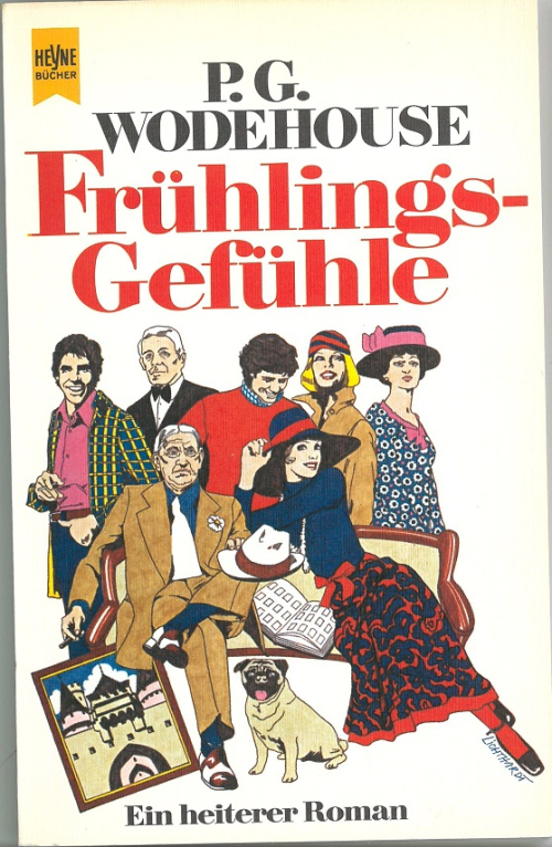 Cover of a German P.G. Wodehouse translation with characters in 1970s clothing