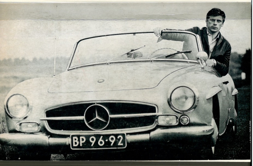Photograph of Jan Cremer in a sports car