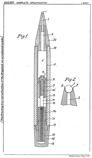 Image of a sketch of Biro's British patent GB498997