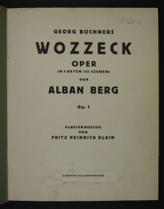 The title page of the published vocal score of Berg's Wozzeck