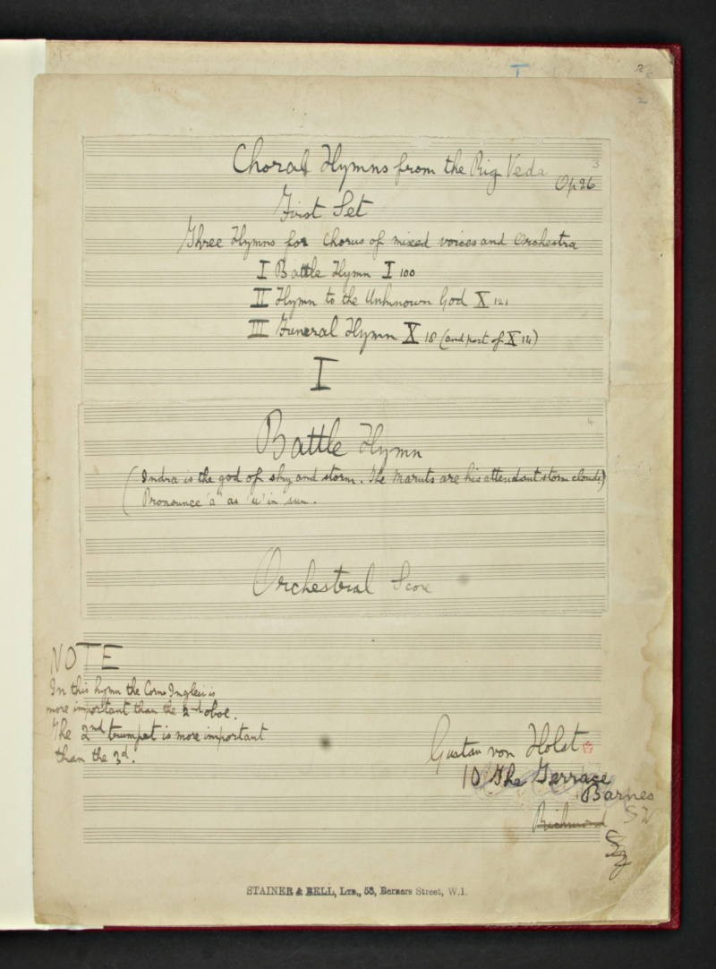 Add MS 57873 f.02r - Holst  Choral Hymns from the Rig Veda