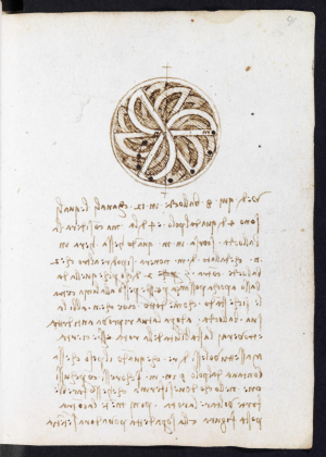 A page from the Codex Forster, showing Leonardo da Vinci's studies for a perpetual motion wheel.