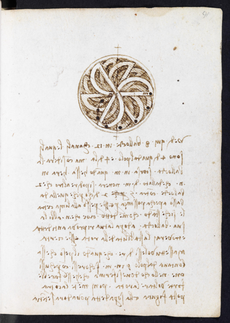 Studies for a perpetual motion wheel  Codex Forster II  ff. 91r (c) Victoria and Albert Museum  London