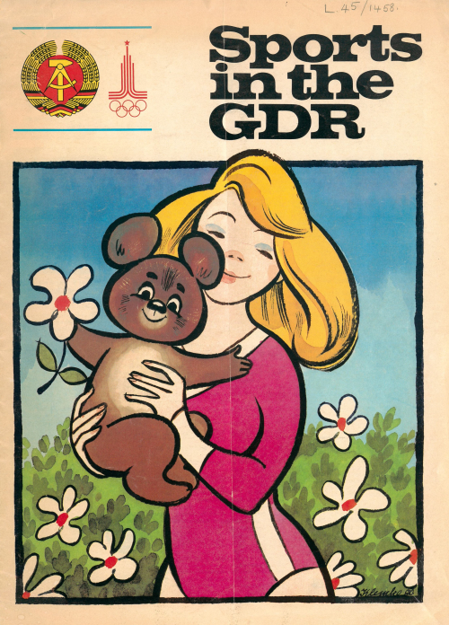 Cover of 'Sports in the GDR' showing a girl in a leotard holding a teddy bear