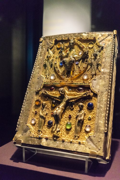 A medieval Gospel-Book with a treasure binding, on display in the Anglo-Saxon Kingdoms exhibition.