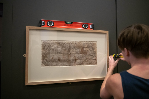 A framed medieval charter being installed in the Anglo-Saxon Kingdoms exhibition