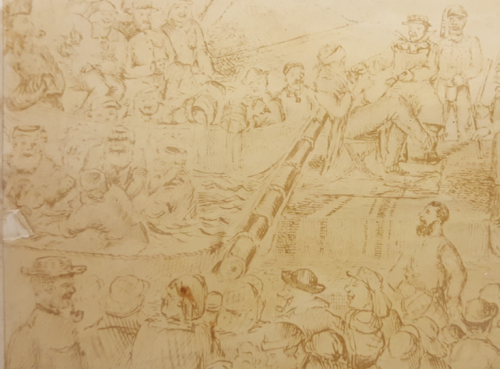 Detail of pencil sketch of the ceremony