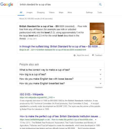 Image of google search for British Standard for a cup of tea