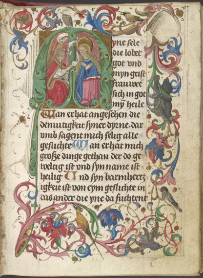 A page from a 15th-century prayer-book, with an enlarged decorated initial containing a representation of the Annunciation.