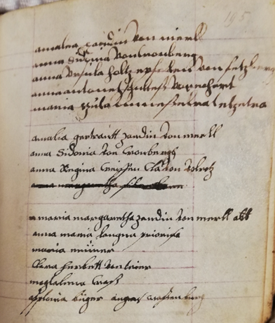 A page from a 17th-century manuscript, containing a list of nuns in a convent at Boppard.