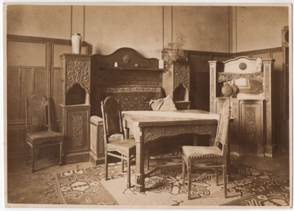 Photograph of an interior, possibly a dining room