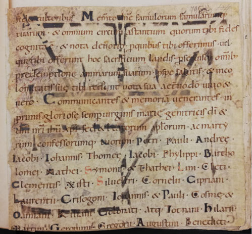 A detail of a fragment from a late 10th century or early 11th-century liturgical book.