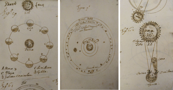 Pages from De Mundi Sphæra Tractatus Autographus cum Figuris by Galileo. British Library, Add MS 22786, (left and right) details from p. 63-64, (centre) p. 46