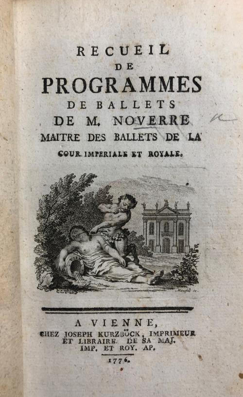 Title page of Recueil des programmes de ballets de M. Noverre