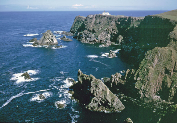 Colour photograph of the north coast of Fair Isle