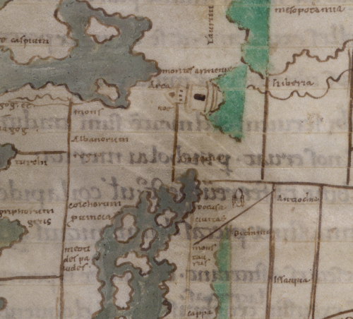 A detail from an 11th-century mappa mundi, showing the location of Noah's Ark.