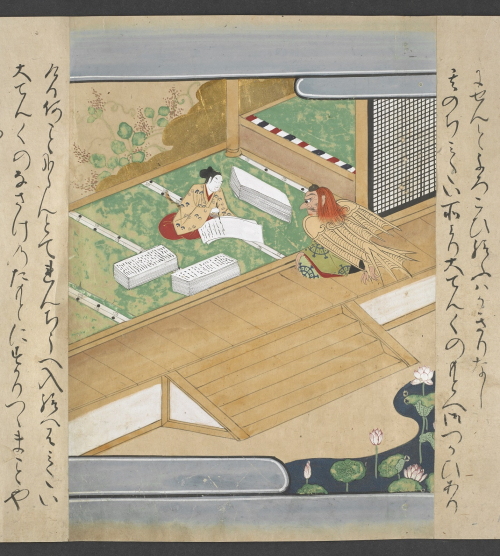 Illustration from the Japanese story Tengu no dairi depicting the tragic hero Minamoto no Yoshitsune while copying sutras. Japan, 1560-1600. British Library, Or. 13839 vol. 1