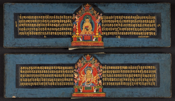 Illustrations of Buddha Ratnasambhava (top) and Bodhisattva Mahamayuri (below) in a manuscript containing the Pancharaksha, a collection of Sanskrit texts relating to five protective goddesses, Nepal, 1677. British Library, Or. 13946, ff. 62r-62v