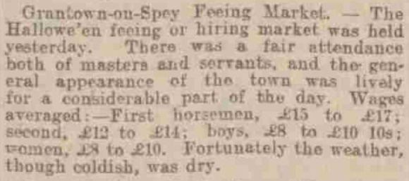 Report of Grantown-on-Spey Feeing Market - Dundee Courier 21 November 1901