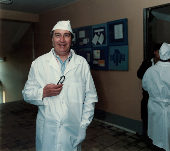 Photograph of Peter Vey at the Chernobyl nuclear power station complex in 1988