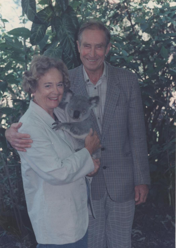 John and Heather Boreham with a koala bear in 1986