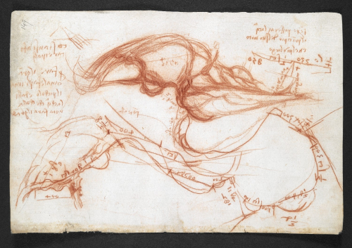 A page from the notebook of Leonardo da Vinci, showing his studies of the River Arno.