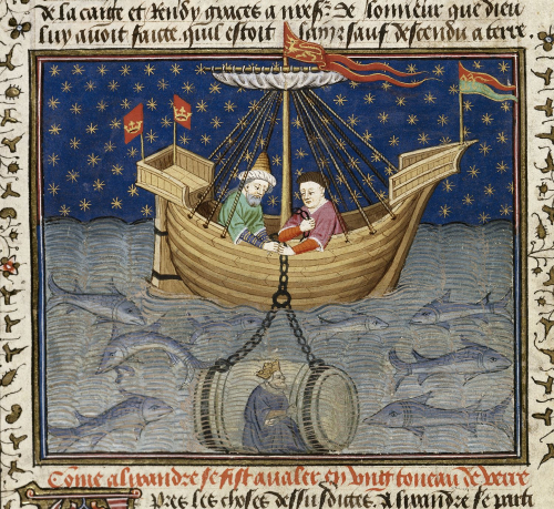 A detail from the Talbot Shrewsbury Book, showing an illustration of Alexander the Great being lowered into the sea.