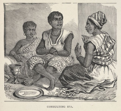 Illustration of Ifá divination from the memoir of a missionary. Charles Andrew Gollmer, Charles Andrew Gollmer, his life and missionary labours in West Africa (London: Hodder & Stoughton, 1889). British Library, 4888.b.64.