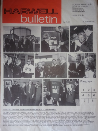 Front page of the Harwell Bulletin showing Neave and Thatcher visiting Harwell