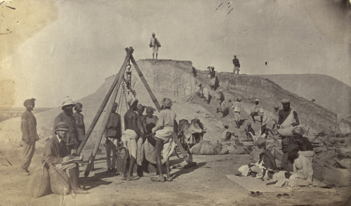 Loading salt on the new British leases at Sambhar Lake, Jaipur state, 1870s (BL Photo 355/1(60)