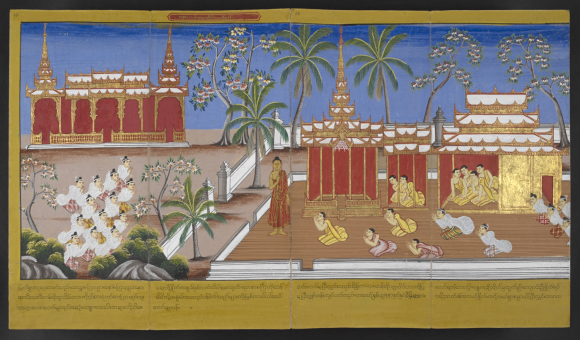 The followers of the Buddha including Bhikkhuni Patisambhidapattacira, and Bhikkhuni Uppalavanna pay respects to the Buddha. British Library, Or. 14405, f. 65