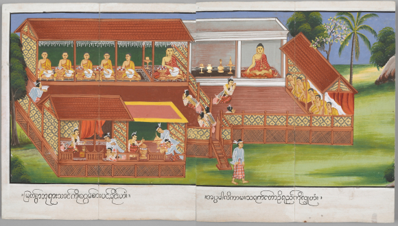 Ambapalika offering a meal to the Buddha and his disciples, and donating a mango grove. British Library, Or. 13534, f. 18-19