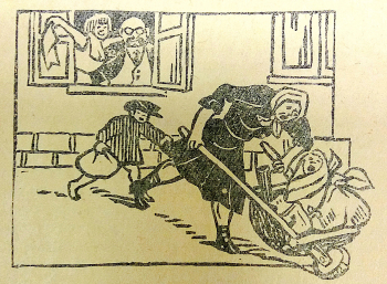 "Woman running away from Soviet-style work, ""Bāsh būkhgāltīrning marḥamatī bīlan."" Mīḥnat, vol. 1927, issue 3 (46). Tashkent, 1927, p. 19 (BL 14499.tt.23)"