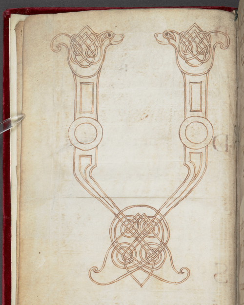 A page from the Noyon Sacramentary, showing an unfinished drawing of a large initial V letter.