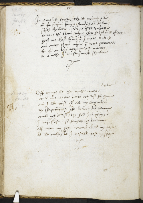 A page from a collection of Sir Thomas Wyatt's poetry, showing texts written in the poet's own hand.