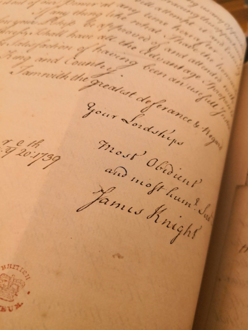 The closing lines of a letter by James Knight to Edward Long