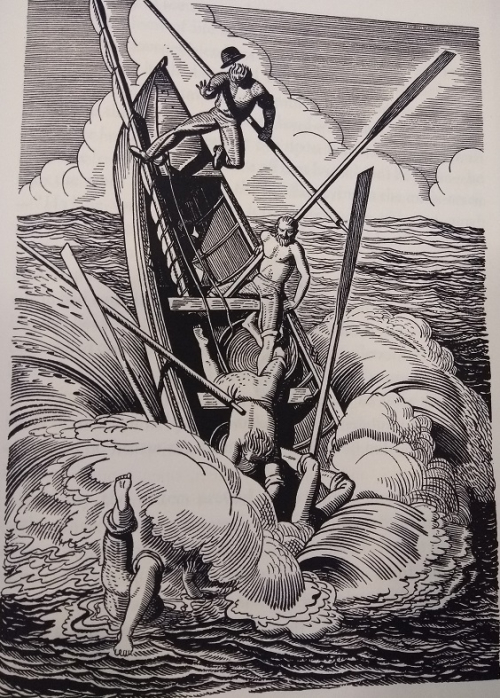 Black and white woodcut image of a boat being upended and people falling into the water