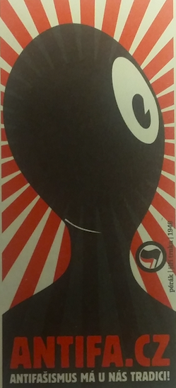 An antifascist sticker with Pérák reproduced in Petr Janeček, Mýtus o pérákovi