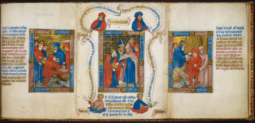 A page from a medieval manuscript, with three illustrations showing the betrayal of Joseph by his brothers (left), the betrayal of Christ by Judas (centre), and the selling of Joseph to Potiphar (right)