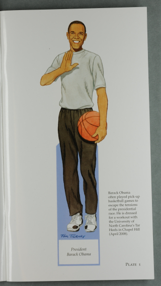 Cartoon of Obama in basketball clothes with a basketball - an example of the dolls from the book