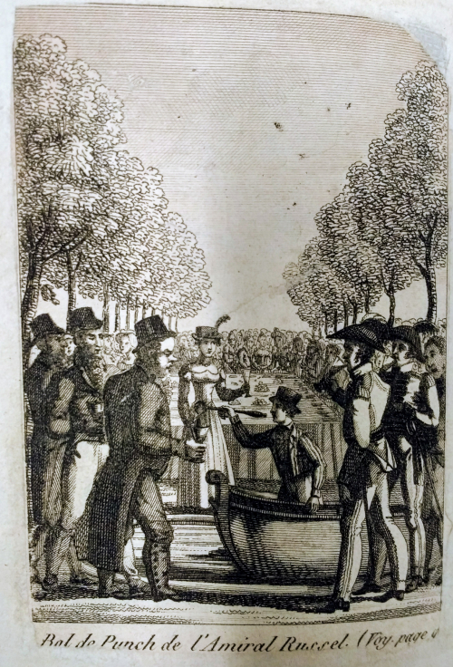Engraving showing a giant punch-bowl at an outdoor party