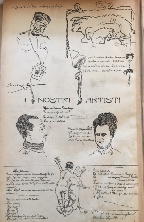 Page from L'Eco Caricaturista with cartoons, verses and portraits