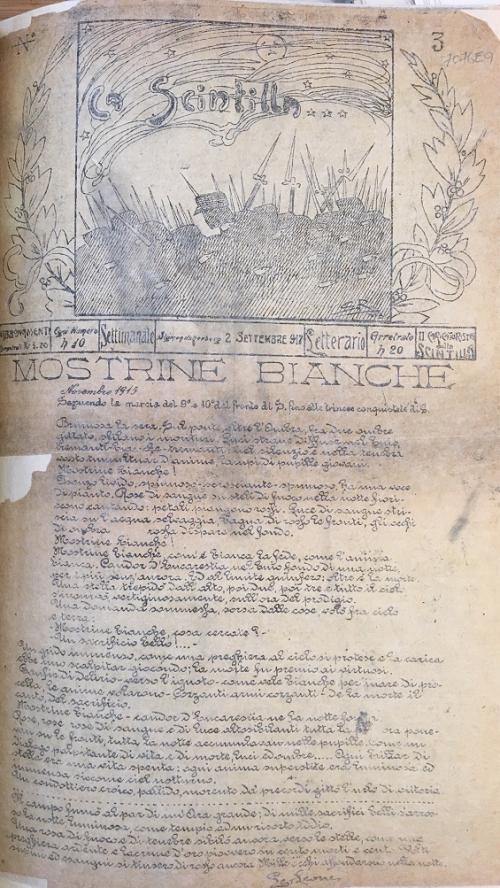 Front page of 'La Scintilla' 2 September 1917