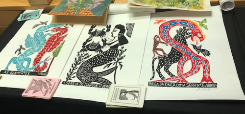Brazilian woodcut prints illustrating cordel publications from Connie Bloomfield's collection.